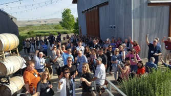 Convention attendees raise a toast to 50 years of WSAE at the Hackett Ranch in Yakima Valley